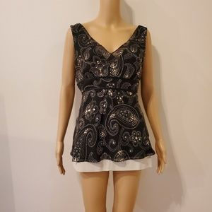 Ann Taylor Black Top with Gold Sequins